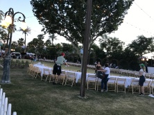 Setting up for dinner in the field! Yum! Dinner from local chefs paired with wine! Met so many fun people!
